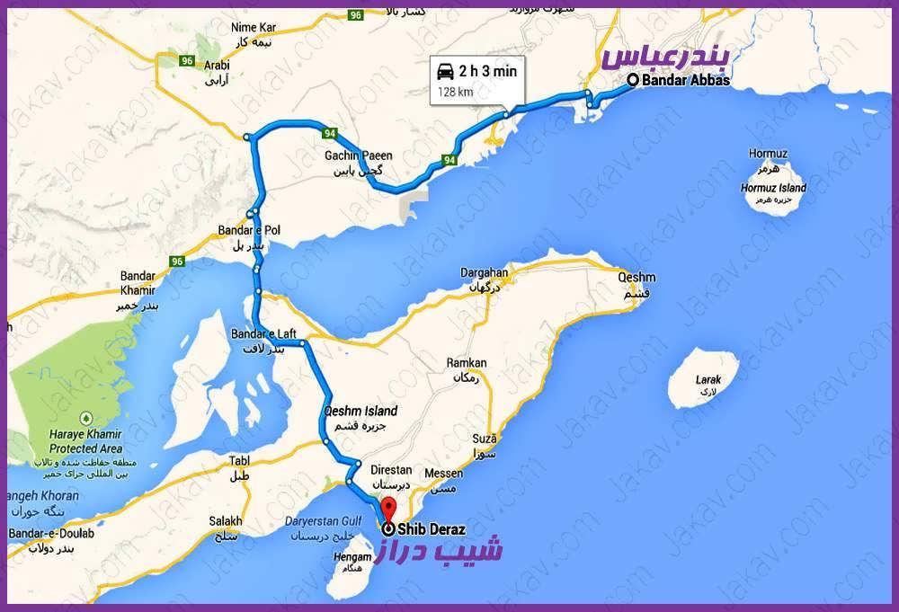 مسیر بندرعباس به ساحل شیب دراز جزیره قشم(از بندر لافت)