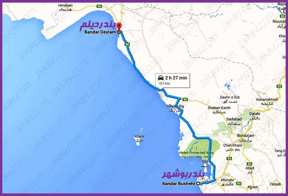بوشهر به بندر دیلم