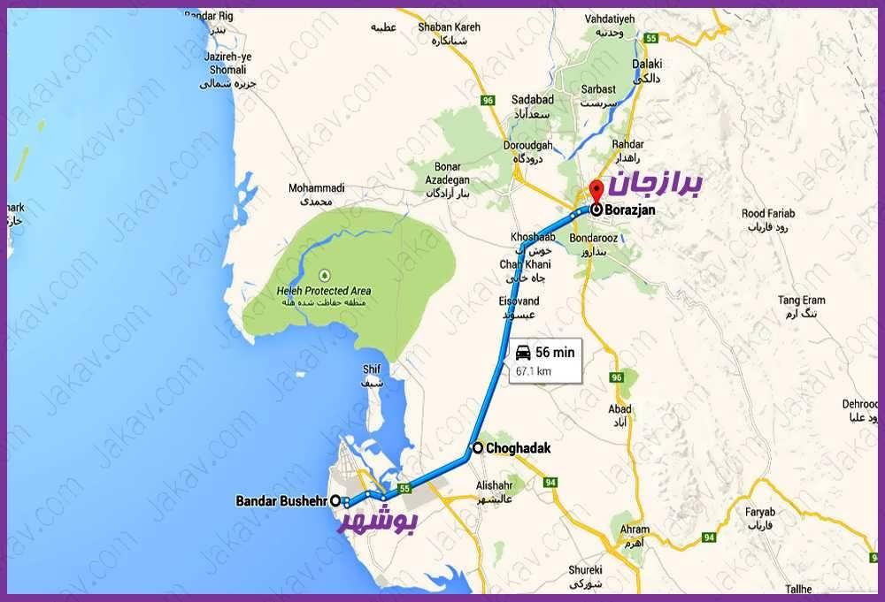 بوشهر به برازجان