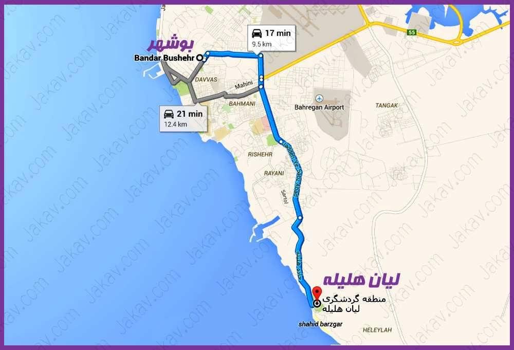 بوشهر به منطقه گردشگری لیان