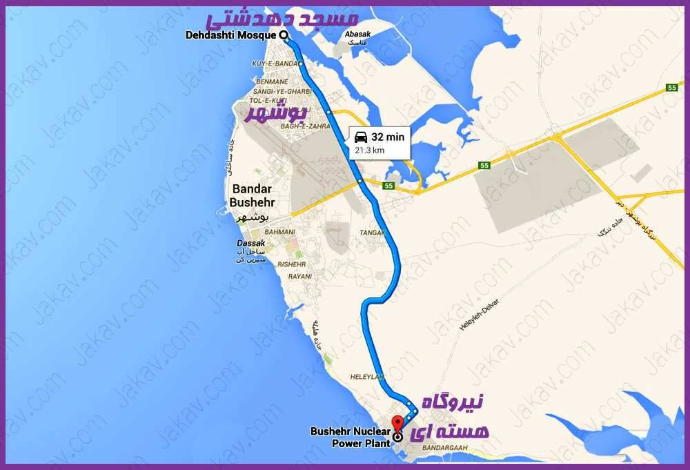 بوشهر به نیروگاه اتمی بوشهر
