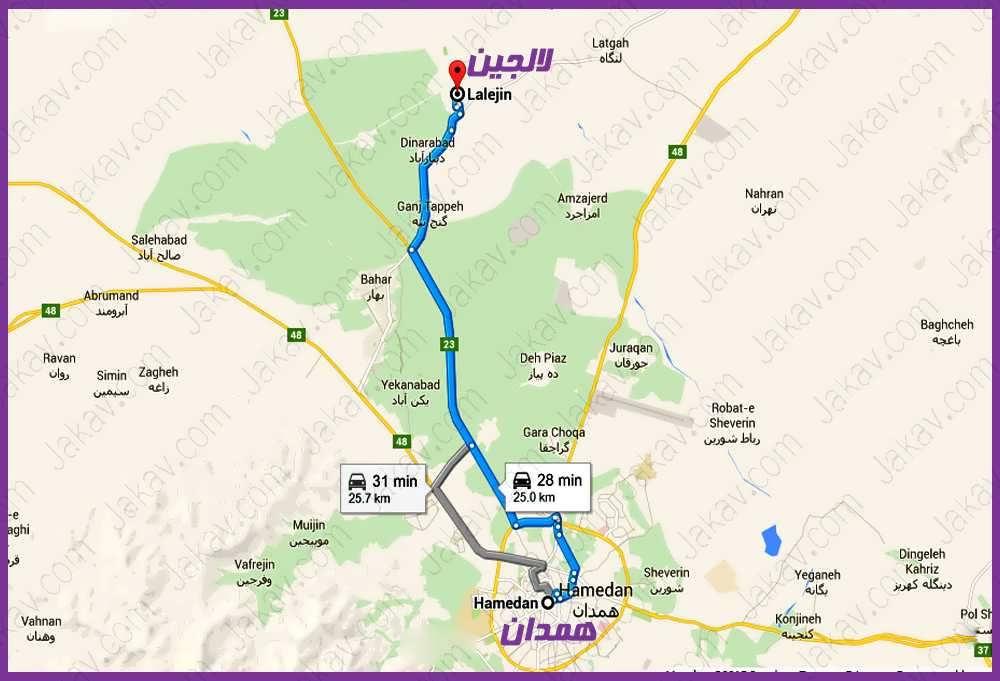 همدان به لالجین - همدان به پایتخت سفال ایران