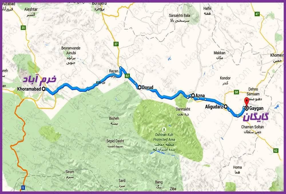 خرم آباد به روستای گایکان