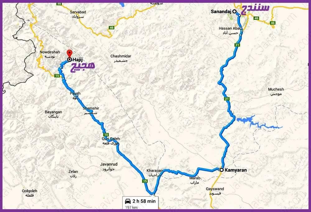 سنندج به روستای هجیج