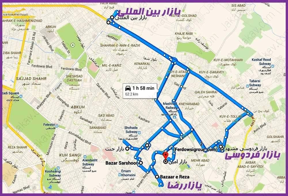 مسیر مراکز خرید شهر مشهد - مسیر بازارهای مشهد